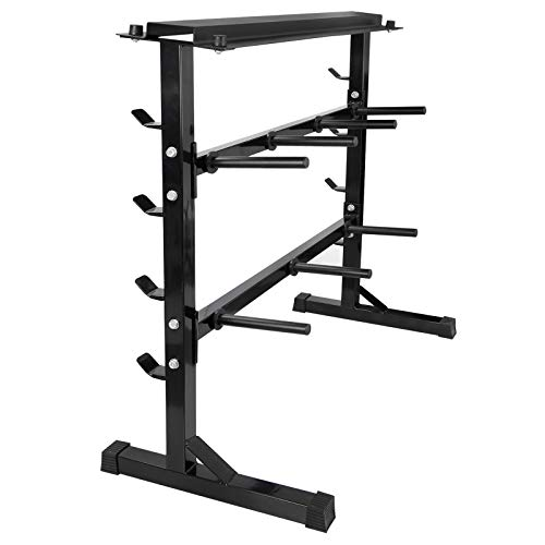 ZENY 2 Tier Weight Plate Storage Organizer Holder Barbell Dumbbell Rack Home Gym Bench Base