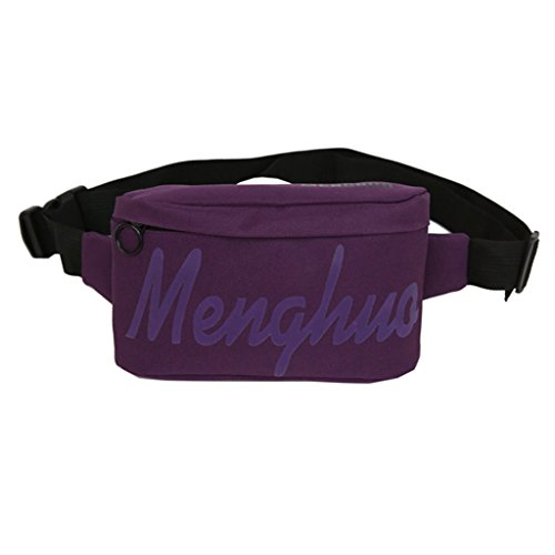Lamdoo Unisex Fashion Fanny Pack Waist Belt Zipper Traveling Letter Print Bag Pocket Purple by Lamdoo