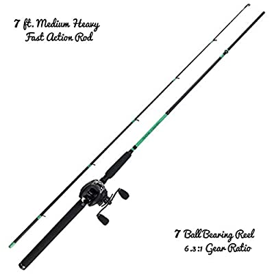 Tailored Tackle Bass Fishing Rod and Reel Baitcasting Combo 7 Ft Medium Heavy 2-Piece Baitcasting Rod 7 Ball Bearings 6.3:1 Gear Ratio Right Handed Baitcaster Reel Fishing Pole
