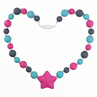 TUXEPOC Sensory Chew Necklace for Kids,Girls/Boys Silicone Teething Necklace for Baby,Oral Sensory Chew Toys Teether Necklace Chewing Designed for Autism, ADHD, BPA Free Chew Beads (Pink)