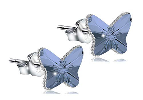 ChicOpick Swarovski Butterfly Earring, Double Crystal,925 Silver with The Edge of Zirconia, Butterfly Size 10mm, for Woman in Sapphire, Crystal, Amethyst, Gray Colors. (Sapphire)