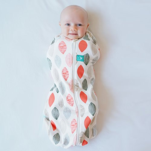 ergoPouch 0.2 tog Cocoon Swaddle Bag- 2 in 1 Swaddle Transitions into arms Free Wearable Blanket Sleeping Bag. 2 Way Zipper for Easy Diaper Changes (Blush Leaf, 0-3 Months)