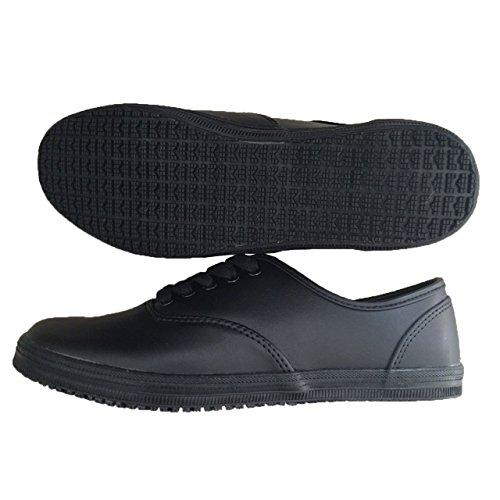 Arkleaf Women S Slip Oil Resistant Non Slip Work Safety Lace Up Ark001 Black Leather Flat Shoes