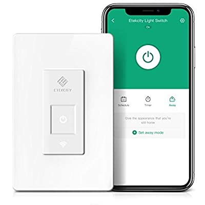 Smart Light Switch by Etekcity, WiFi Inwall Switch with Timer, Works with Alexa, Google Home and IFTTT, No Hub Required, Guided Installation, 15A/1800W, ETL/FCC Listed, 2 Years Warranty