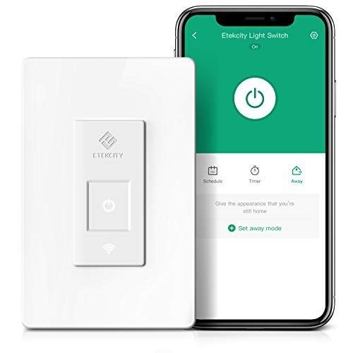 - Smart Light Switch by Etekcity, WiFi Inwall Switch with Timer, Works with Alexa, Google Home and IFTTT, No Hub Required, Guided Installation, 15A/1800W,  ETL/FCC Listed, 2 Years Warranty
