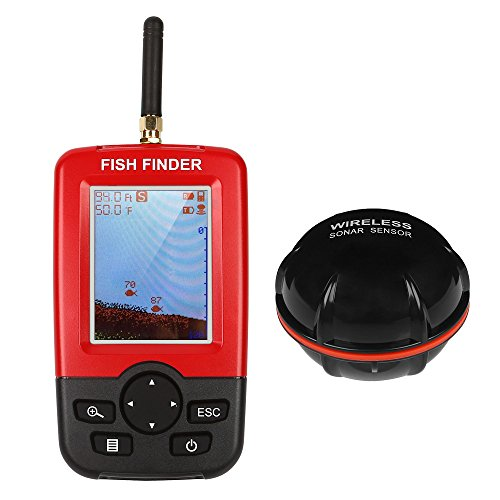 LeaningTech Portable Fish Finder, Dot Matrix Fishfinder with Wireless Sonar Sensor Transducer and LCD Display Fish Finders And Other Electronics LeaningTech