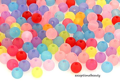 150 Assorted Frosted Mix 6mm Round Ball Bauble Bubblegum Lucite Acrylic -