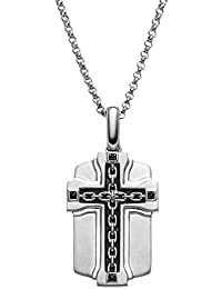 Black Diamond Accent Sterling Silver Cross Link Dog Tag Necklace - Men