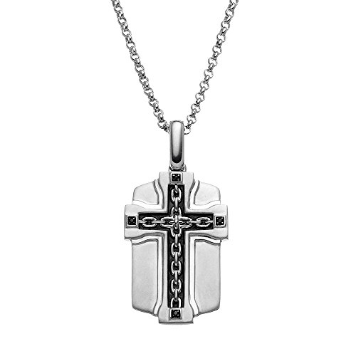 JewelMore Black Diamond Accent Sterling Silver Cross Link Dog Tag Necklace - Men