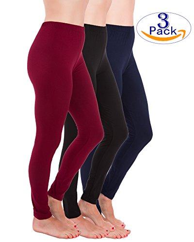 Homma Premium Ultra Soft High Rise Waist Full Length Regular and Plus Size Variety 3 pack Leggings (S/M/L, Burgundy/Black/Navy)