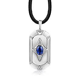 White Gold Sapphire Tanzanite Pendant Necklace