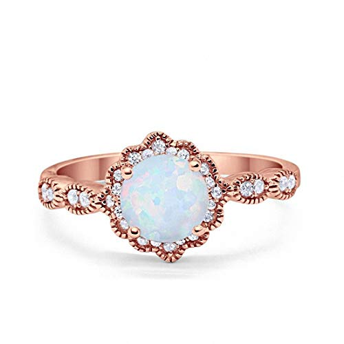 Blue Opal Wedding Set - Blue Apple Co. Halo Floral Art Deco Wedding Engagement Ring Created White Opal Round CZ Rose Tone 925 Sterling Silver, Size-6