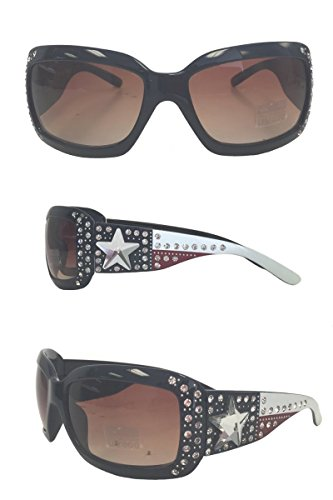 Montana West Ladies UV 400 Sunglasses Texas Flag Star Concho, Navy - West Wholesale Sunglasses Montana