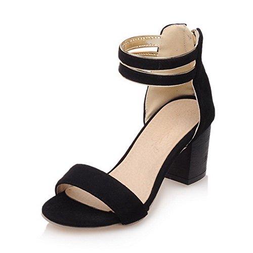 AllhqFashion Women's Imitated Suede Solid Zipper Open Toe Kitten Heels Sandals Black kXk0J