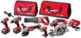 Milwaukee 2896-26 M18 Fuel 18-Volt Lithium-Ion Brushless Cordless Combo Kit (6-Tool) with (2) 5.0 Ah Batteries, (1) Charger, (2) Tool Bags