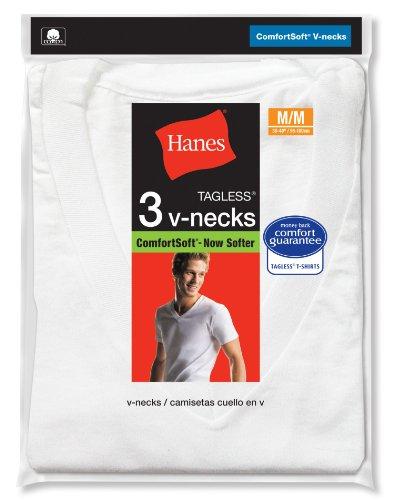 Hanes mens 3 pack v neck t shirt white xxx large for Hanes men s 6pk 3 free v neck shirts white