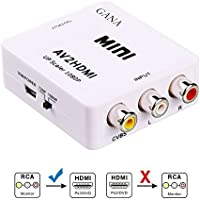 AV to HDMI, GANA 1080P Mini RCA Composite CVBS AV to HDMI Video Audio Converter Adapter Supporting PAL/NTSC with USB Charge Cable for PC Laptop Xbox PS4 PS3 TV STB VHS VCR Camera DVD