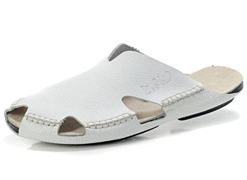 chiusa pantofola zoccoli Punta Taglia 44 e Cuoio Classico MSFS White a degli sandali Ciabatte uomini Spiaggia 38 xqYSPP0Iw