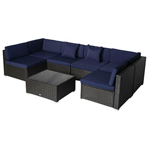 (Outsunny 7 Piece Wicker Rattan Sofa Sectional Outdoor Patio Furniture Set- Blue)