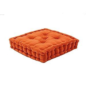 Thedecofactory 448154 Pouf Tapissier, Velours de Coton, Orange, 40 x 40 x 8 cm