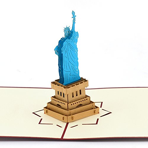 Greeting Cards, Pop Up Birthday Card Thank You Cards with Envelopes, Handmade Greeting Cards for Kids, Friends, Business Partner (Statue of Liberty)