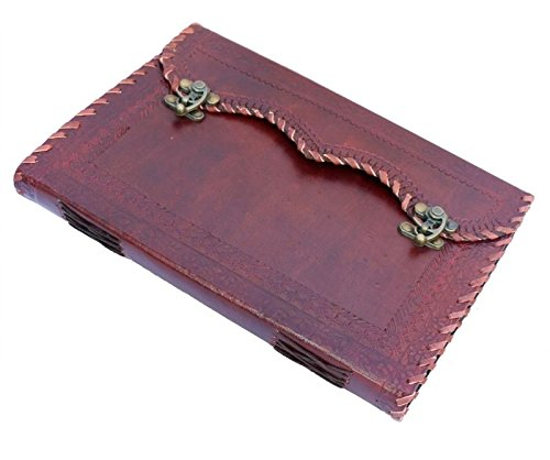 TOL Large Leather Journal Embossed 2 Latches Design Gift Book Diary Journal Christmas Book 10x7