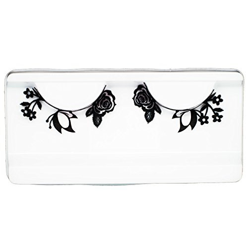 (EMILYSTORES Butterfly & Rose Costume Halloween Black Lace Paper Lashes 1)