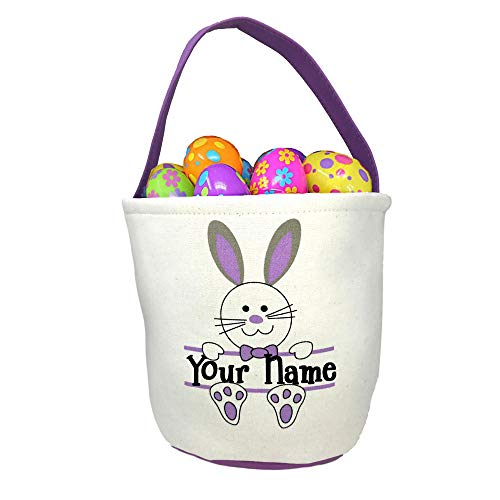 Personalized Purple Easter Basket with Bunny Rabbit and Name Banner Custom Egg Hunt Tote Bag - Your Choice of Free Name]()