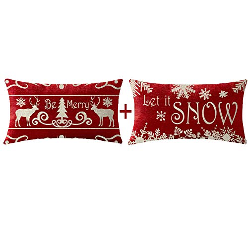 NIDITW Set of 2 Mother Birthday Gift Let It Snow Deer Christmas Trees Snowflakes Lumbar Cotton Linen Decorative Throw Pillow Cover Cushion Case Sofa Chair Long Rectangular 12x20 Inches