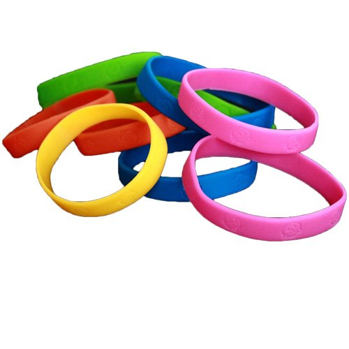 Toy Cubby Bracelets - 48 Assorted Neon Colored Wristbands - Multi Colored Elastic Rubber Monkey Headed Bracelets - Ideal Holidays - Rewards - Prizes - Teachers - Camps So Much More! ()