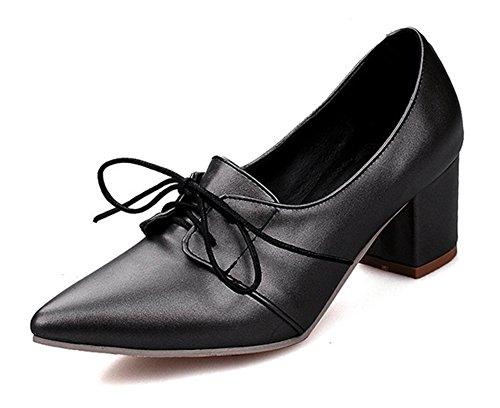 Aisun Femmes Bout Pointu Coupe Basse Robe À La Mode Jusquà Chunky Mi-talons Pompes Chaussures Noir