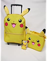 Pokemon Large 16 Rolling Backpack Roller Book Bag, Lunch Box & 4 Pikachu Plush