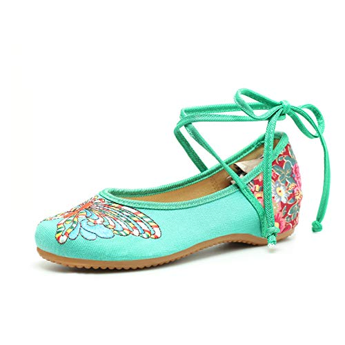 Embroidered Mary Jane - CINAK Embroidered Chinese Style Loafers Shoes Butterfly Embroidery Ballet Round Toe Black Flats