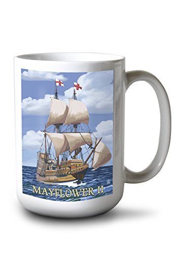 (Lantern Press Plimoth Plantation, Massachusetts - Mayflower II (15oz White Ceramic Mug))