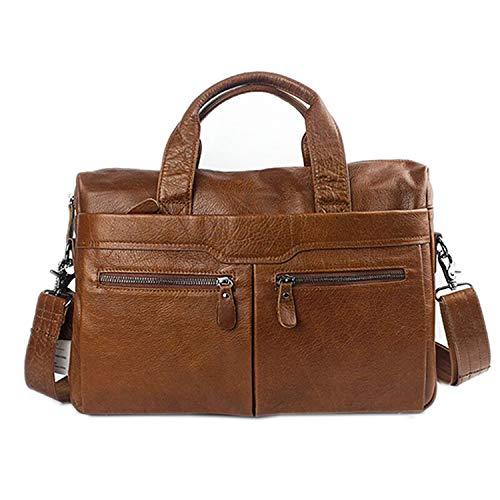 - Men's Bag Genuine Leather Messenger Bag Men Leather Shoulder Laptop Bags 14'' Crossbody Bags for Men Briefcases,brown