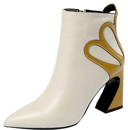 Blanc Bloc Fermeture Éclair Femme Calaier 8CM B Bottes ankxib Chaussures wpq8ItgO