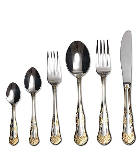 "75-Piece Gold Flatware Set Dining Service for 12, 18/10 Premium Stainless Steel, 24K Gold-Plated Trim, Silverware Serving Set, Wood Storage Case (""Majestic"")"