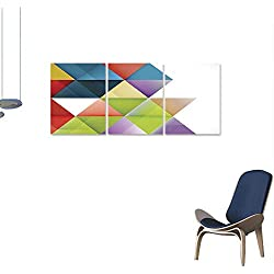 "Unpremoon Triptych Wall Art Abstract Colorful Triangle Geometric Modern Template for Business or Technology 24""x36""x3pcs"