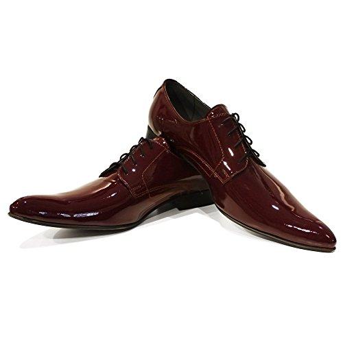 PeppeShoes Modello Feno - Handmade Italiano da Uomo in Pelle Borgogna Scarpe da Sera - Vacchetta Pelle di Brevetto - Allacciare