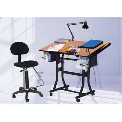 Martin Creation Station Art-Hobby Table and Chair Set, Black with Tiltable Cherry Top, 24-Inch by 40-Inch Size Surface by Martin