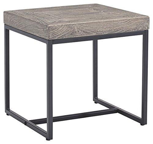Ashley Furniture Signature Design – Brazin Casual Square End Table – Gray For Sale