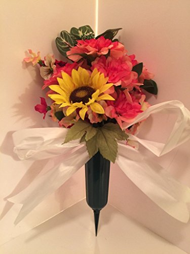GRAVE DECOR - CEMETERY MARKER - FUNERAL ARRANGEMENT - FLOWER VASE - PINK MIXED FLORAL AND YELLOW SUN FLOWER
