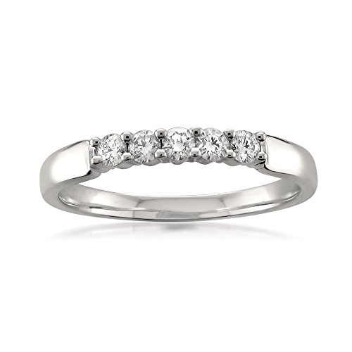 (18k White Gold 5-Stone Round Diamond Bridal Wedding Band Ring (1/4 cttw, I-J, SI1-SI2), Size)