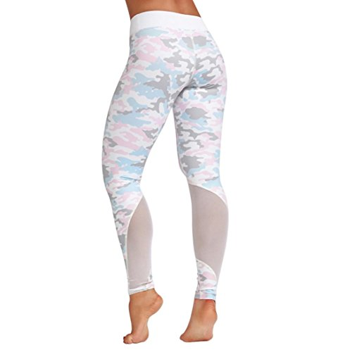 Price comparison product image Snowfoller Women Mesh Camouflage Yoga Pants Patchwork Sports Fitness Leggings Athletic Trouser High Waist Pants (L, White)