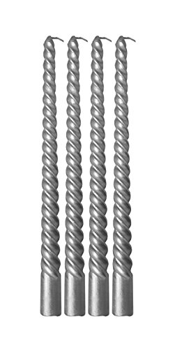 Decor Hut Metallic Wax Taper Candle Sticks Swirl Design Rich & Elegant 10 Inches Tall Set of 4 - Silver Taper Candles