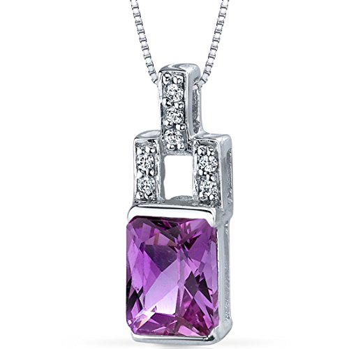 Peora Created Pink Sapphire Radiant Cut Pendant Necklace Sterling Silver covid 19 (Brilliant Cut Pink Sapphire Necklace coronavirus)