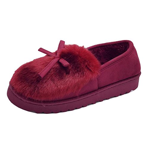 Binying Women's Round-Toe Bowknot Flat Slip-on Fur Snow Boots Burgundy ABDlh