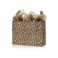 STORE001 Large Brown Leopard Paper Shopping Bags - Case of 25