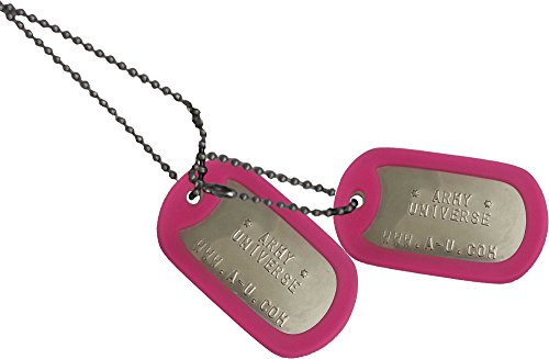 Army Universe Matte Custom Embossed Stainless Steel Military Style Dog Tag Set - Pink Silencer