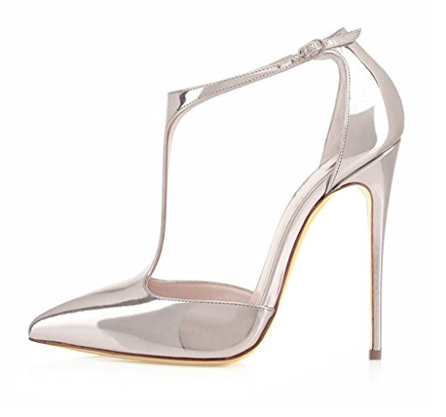 EDEFS Damenschuhe T-Spangen Übergröße Stilettos Knöchelriemchen Pumps Hoch Absatz mit Schnalle Silber